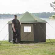 Man Stood By Mobile Sauna Tent